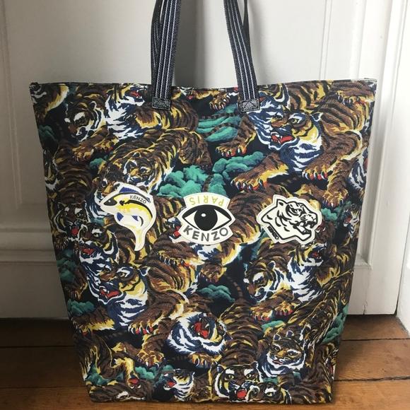 0ea96b12e2 Kenzo Bags | Nylon Shopper Tote With Tiger And Eyes Print | Poshmark